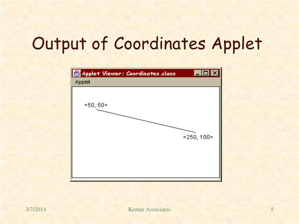 Output of Coordinates Applet