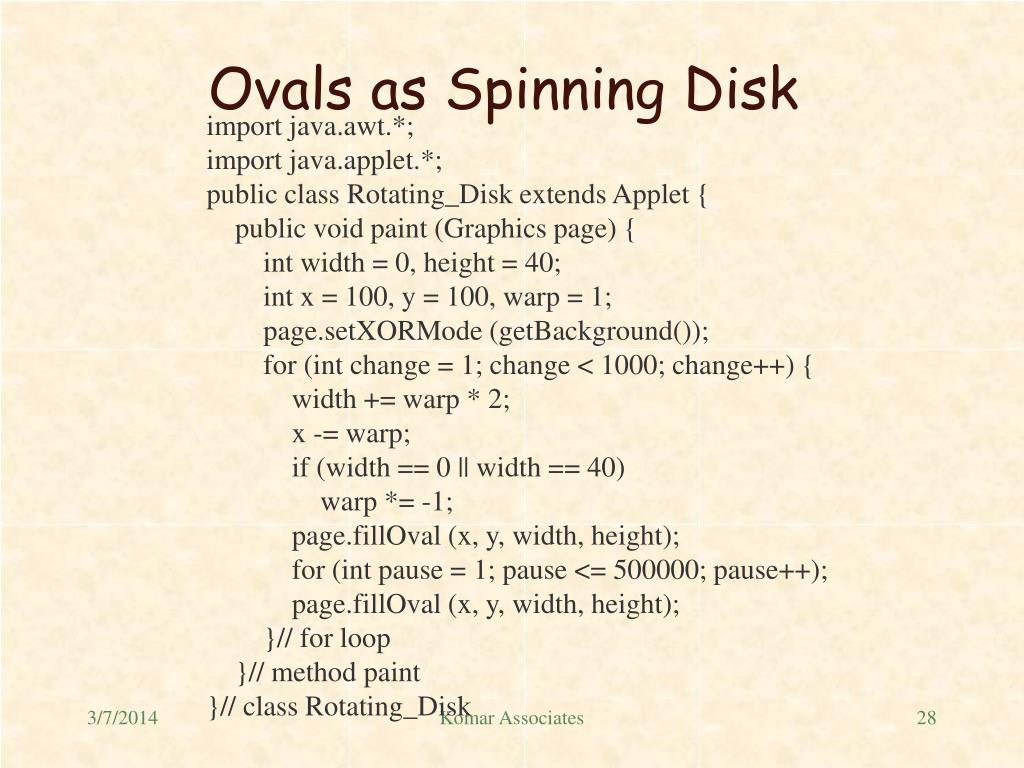 Ovals as Spinning Disk