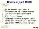 decisions on s 1000d cont