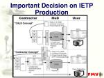 important decision on ietp production