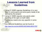 lessons learned from guidelines