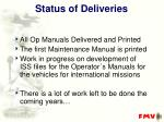 status of deliveries