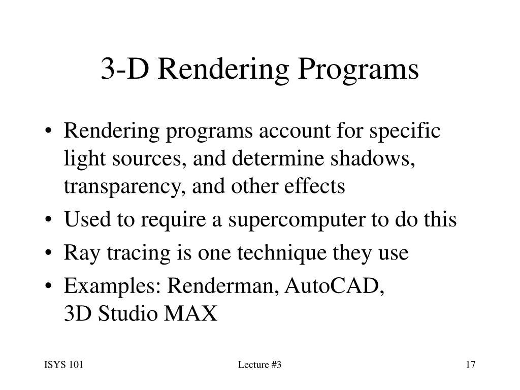3-D Rendering Programs