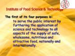 institute of food science technology the first of its four purposes is