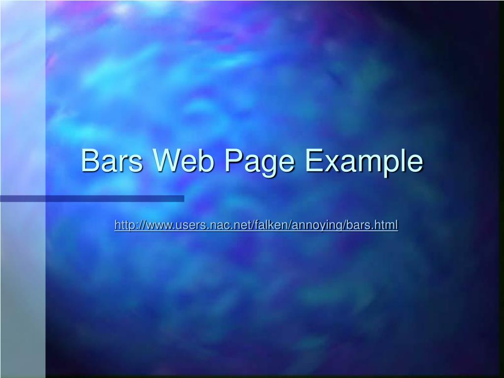 Bars Web Page Example