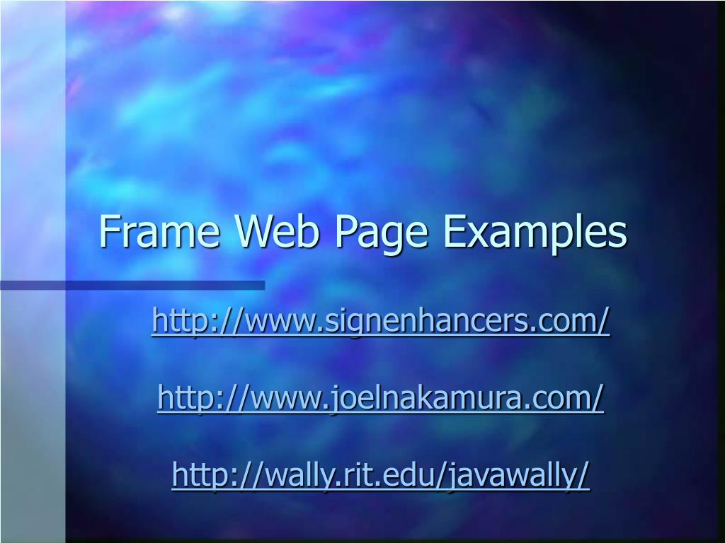 Frame Web Page Examples