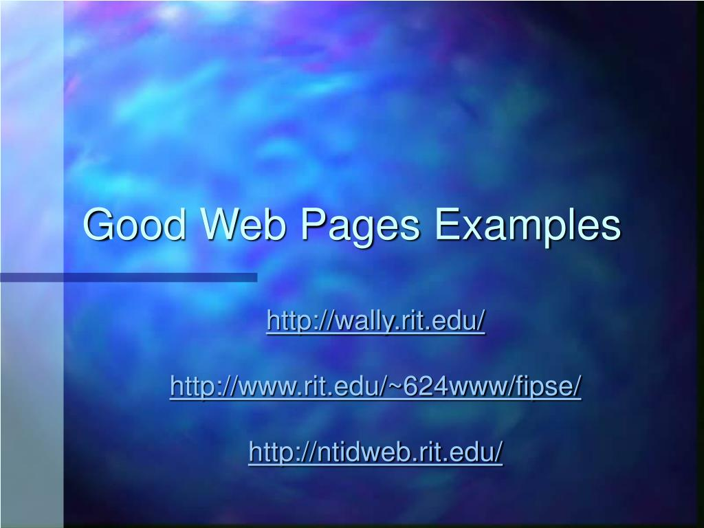 Good Web Pages Examples