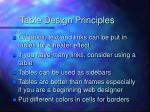 table design principles