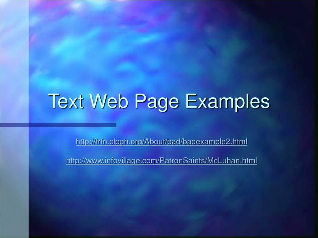 Text Web Page Examples