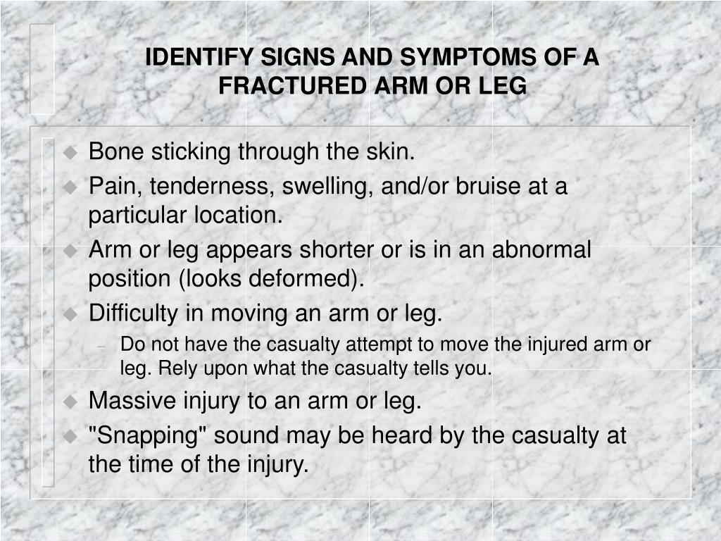 IDENTIFY SIGNS AND SYMPTOMS OF A