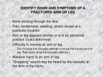 identify signs and symptoms of a fractured arm or leg
