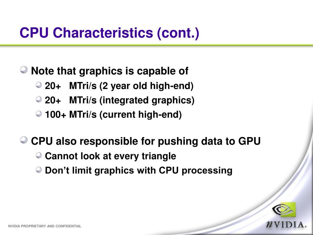 CPU Characteristics (cont.)