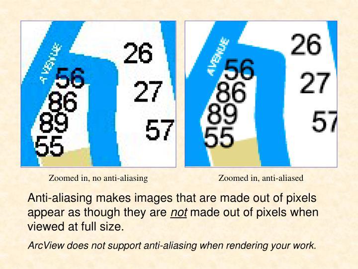Zoomed in, no anti-aliasing