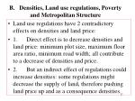 b densities land use regulations poverty and metropolitan structure