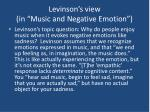 levinson s view in music and negative emotion