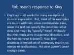 robinson s response to kivy