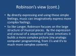 robinson s view cont