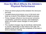 how the mind affects the athlete s physical performance