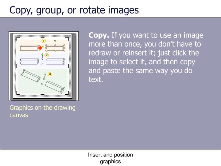 Copy, group, or rotate images