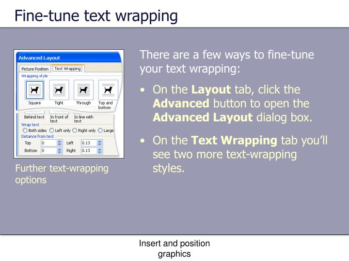 Fine-tune text wrapping