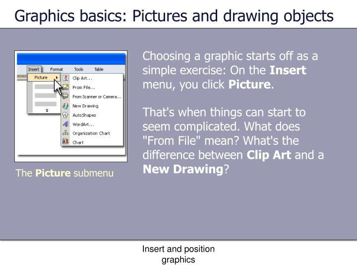 Graphics basics: Pictures and drawing objects
