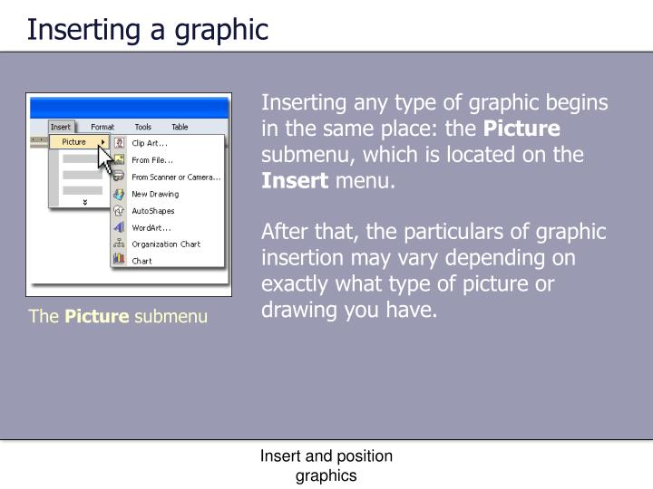 Inserting a graphic