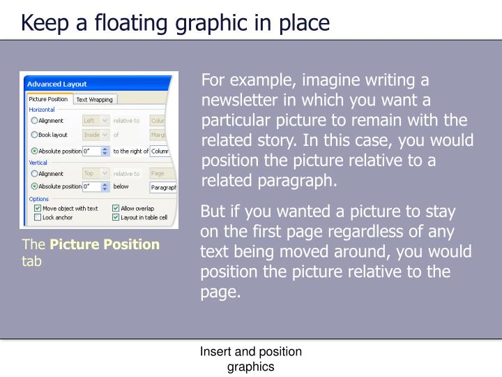 Keep a floating graphic in place