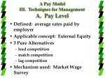a pay model iii techniques for management a pay level