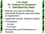 a pay model iii techniques for management c individual pay rates