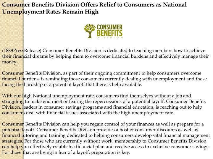Consumer Benefits Division Offers Relief to Consumers as National Unemployment Rates Remain High