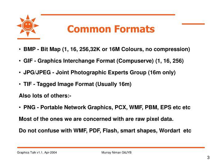 Common formats