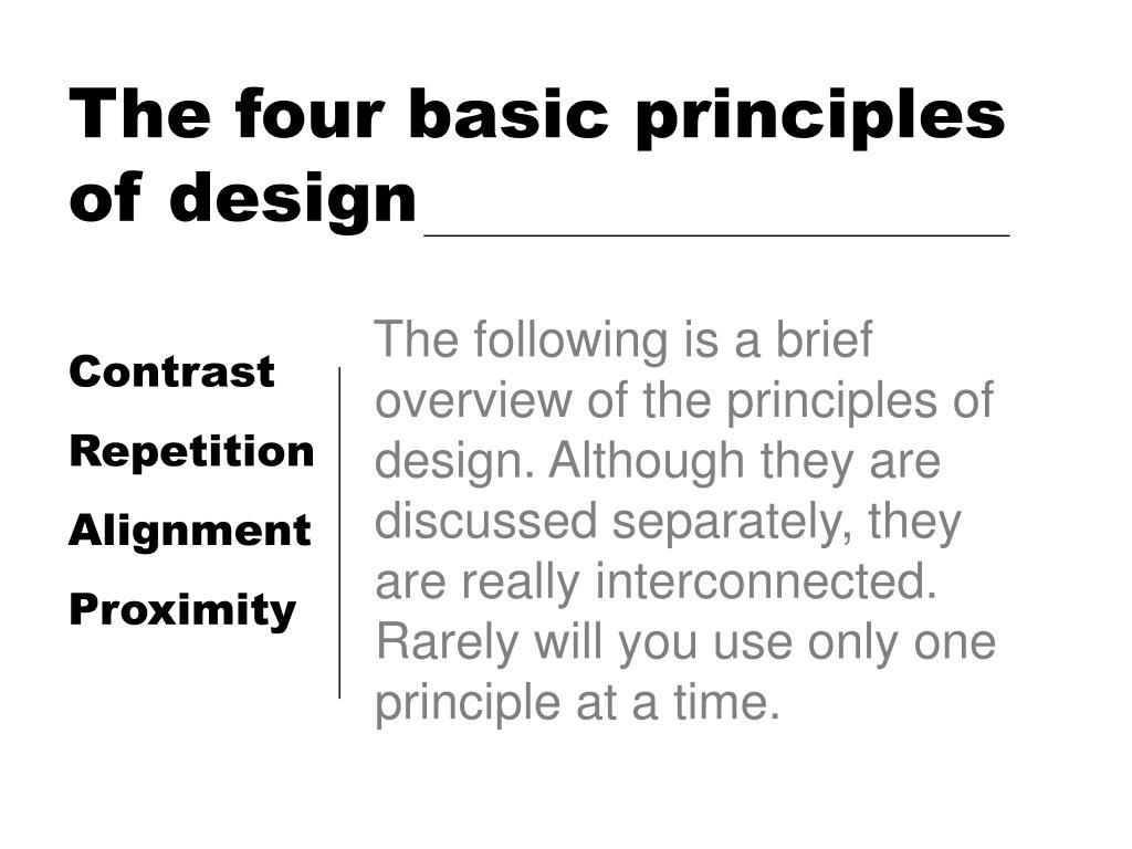 the four basic principles of design l.