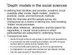 depth models in the social sciences
