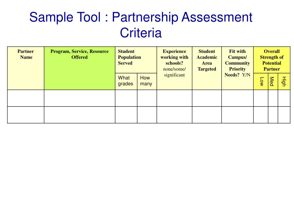 Sample Tool : Partnership Assessment Criteria