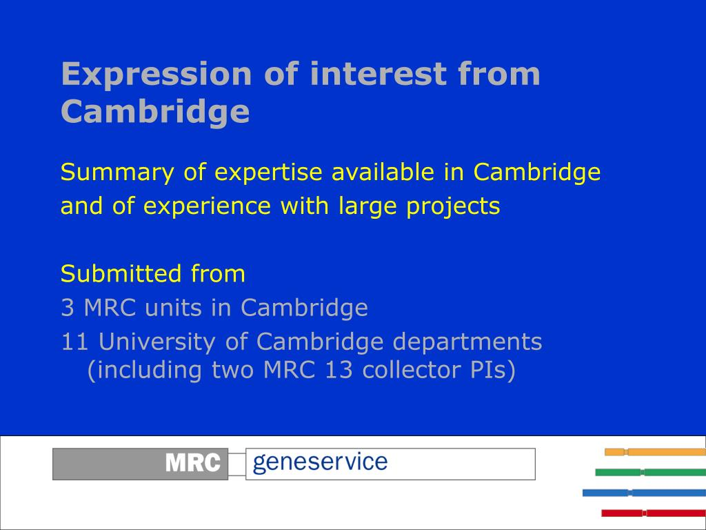 Expression of interest from Cambridge