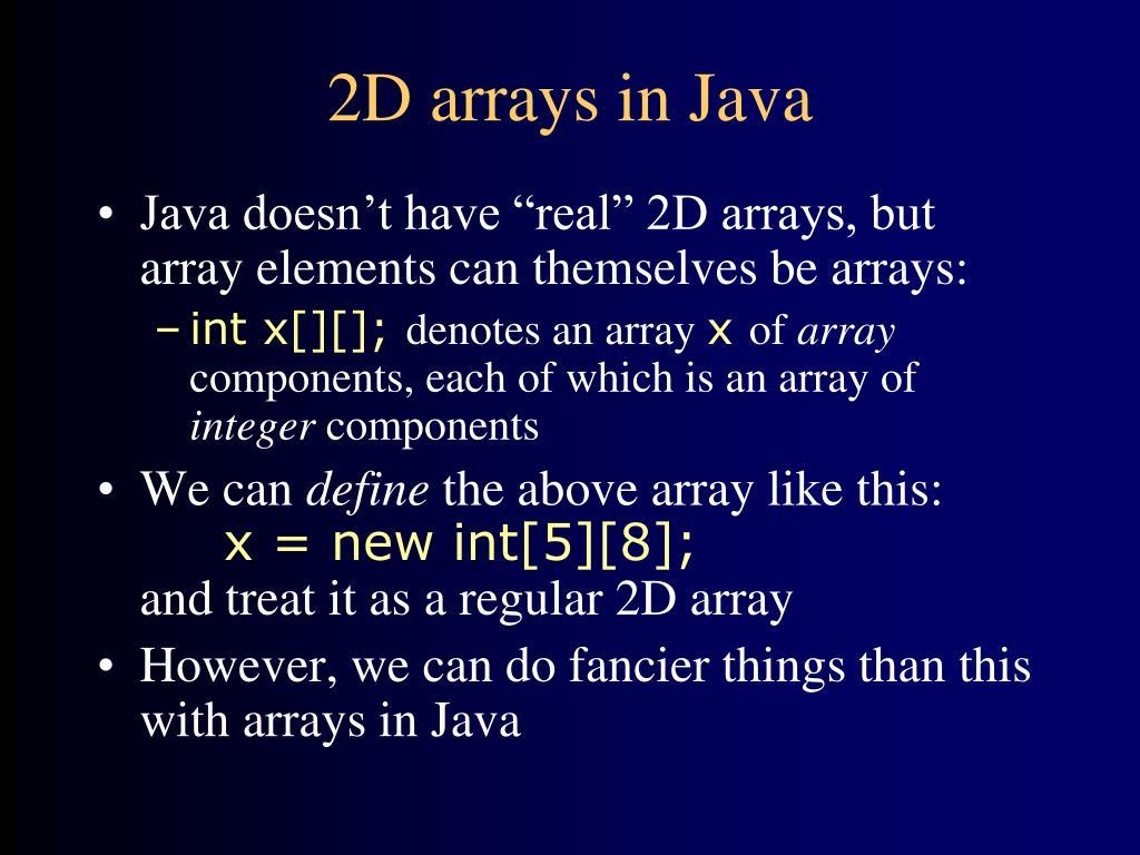 2D arrays in Java