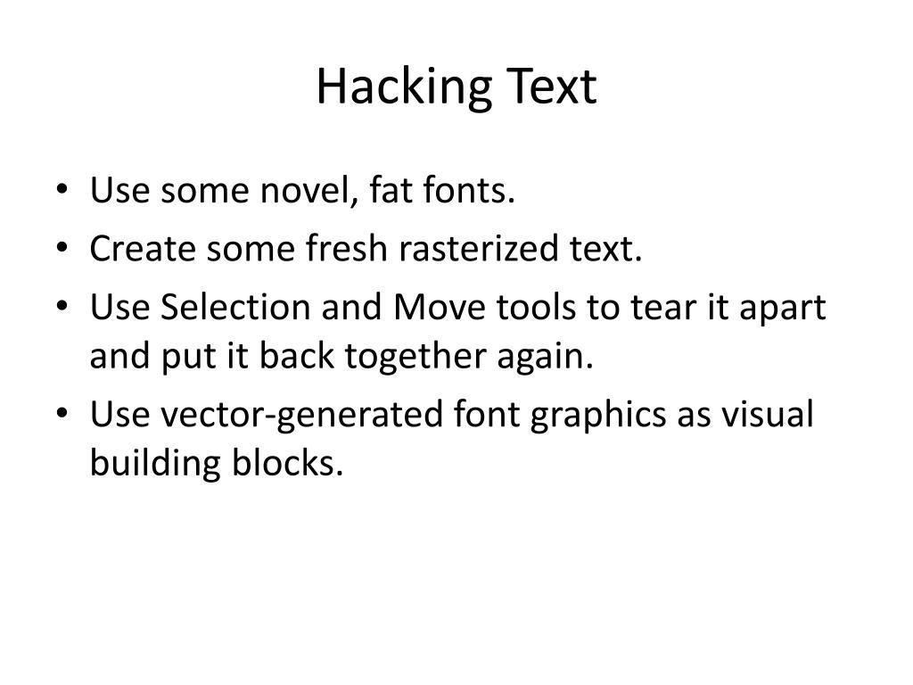 Hacking Text