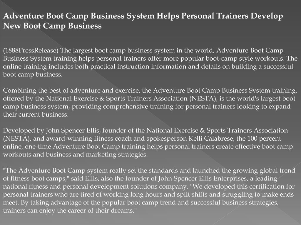 Adventure Boot Camp Business System Helps Personal Trainers Develop New Boot Camp Business