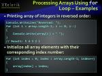 processing arrays using for loop examples