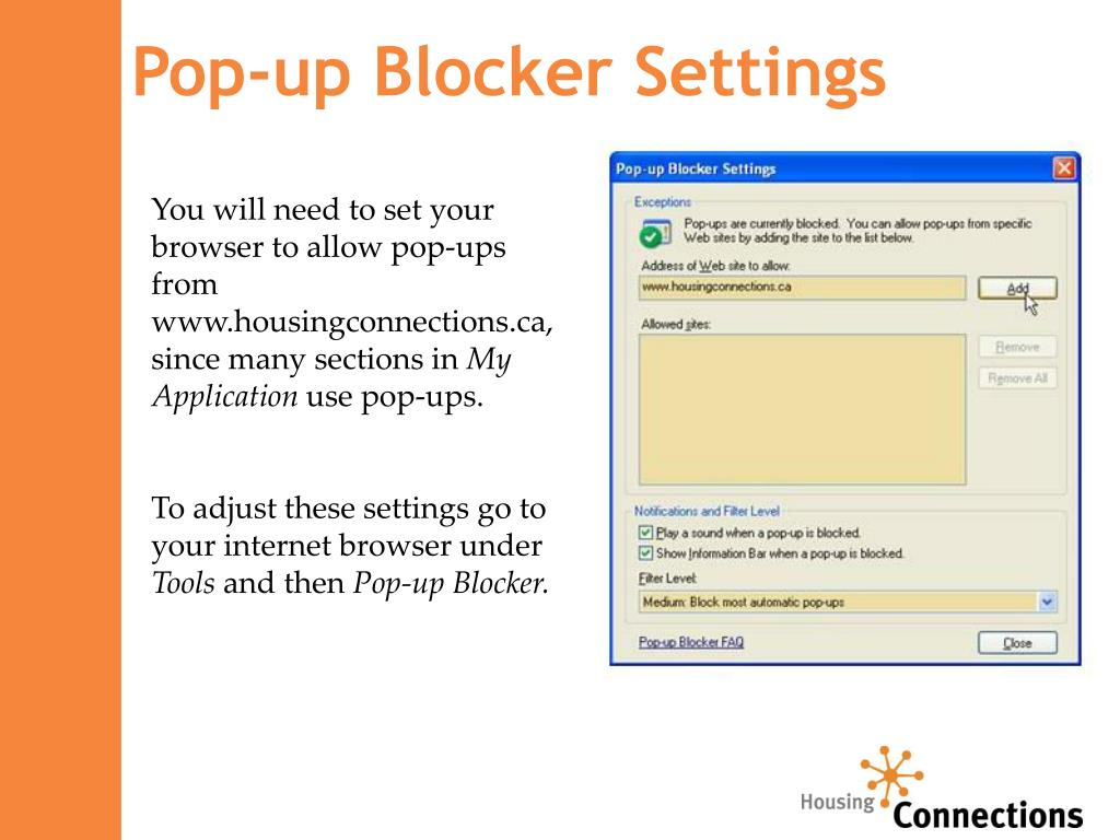 Pop-up Blocker Settings