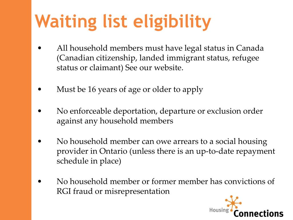 Waiting list eligibility