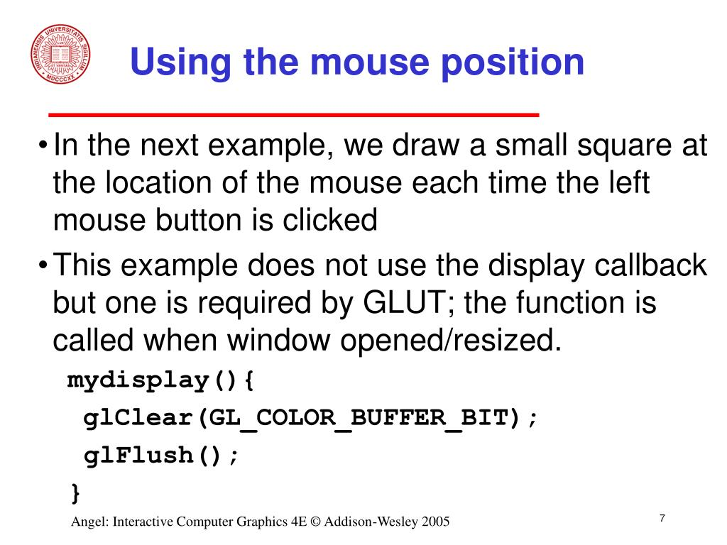 Using the mouse position