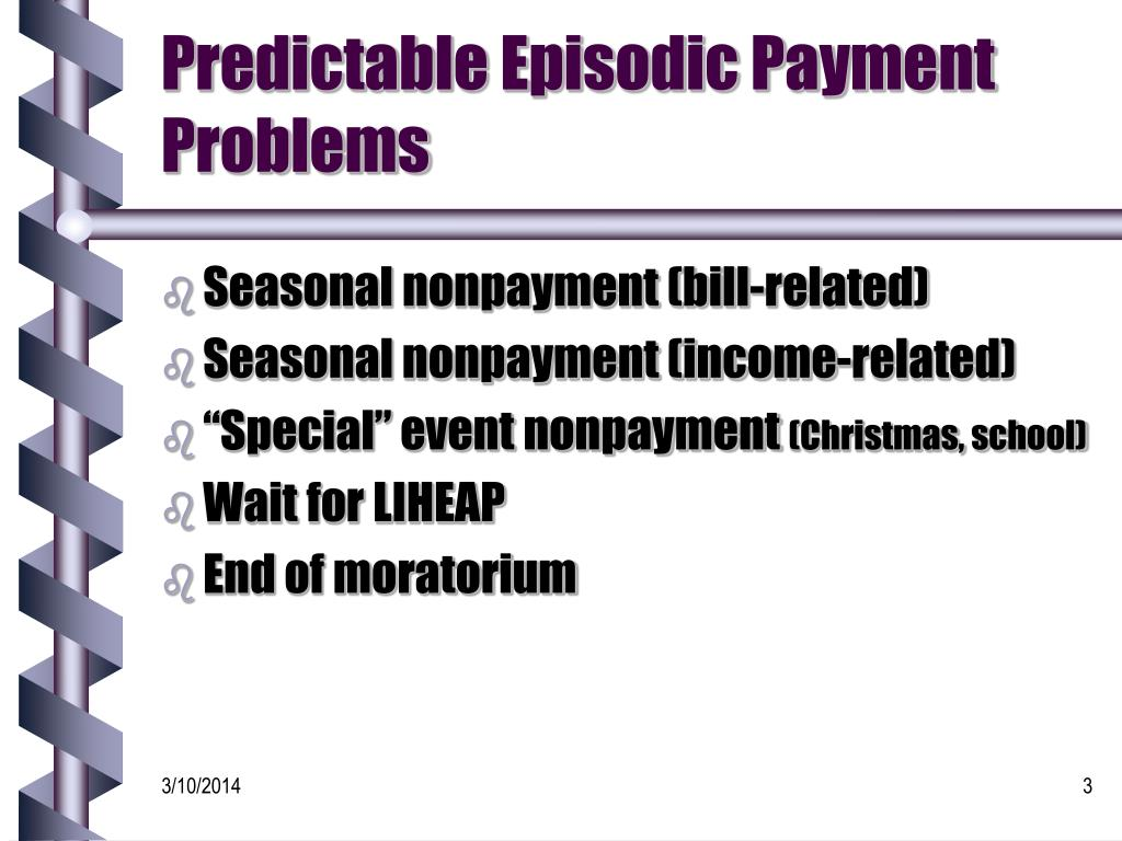 Predictable Episodic Payment Problems