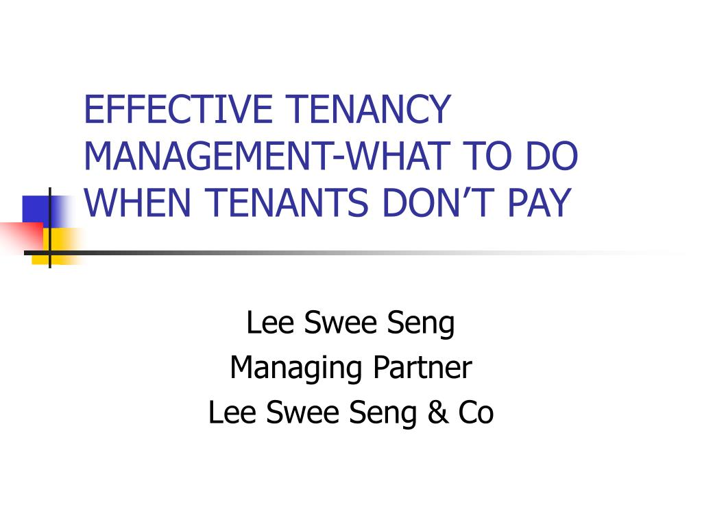 effective tenancy management what to do when tenants don t pay l.