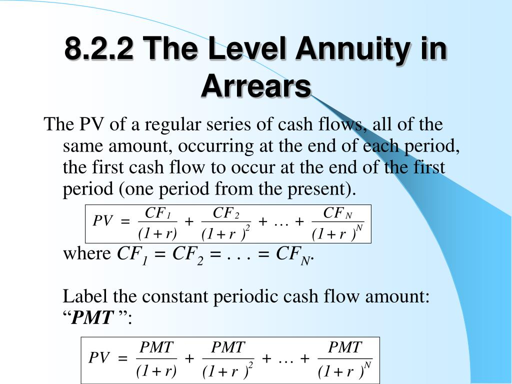 8.2.2 The Level Annuity in Arrears