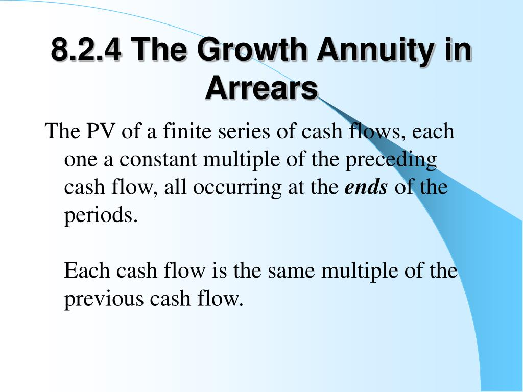 8.2.4 The Growth Annuity in Arrears