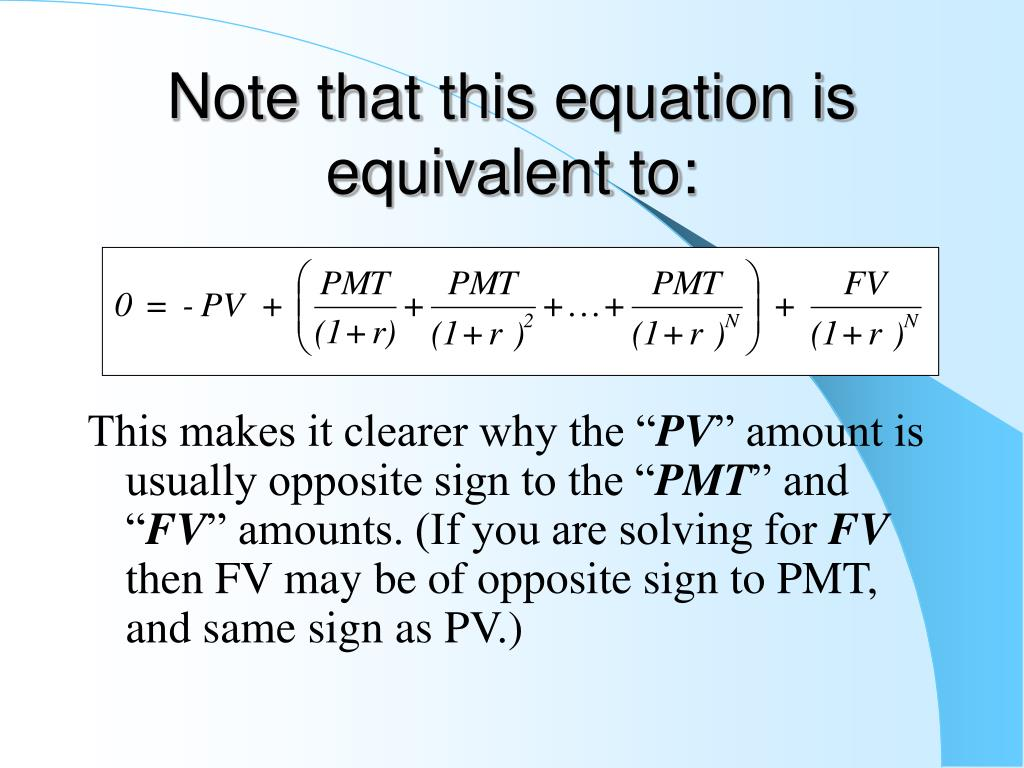 Note that this equation is equivalent to: