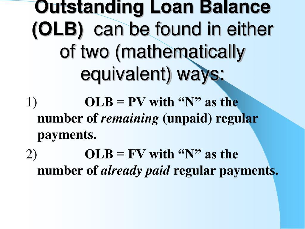 Outstanding Loan Balance (OLB)