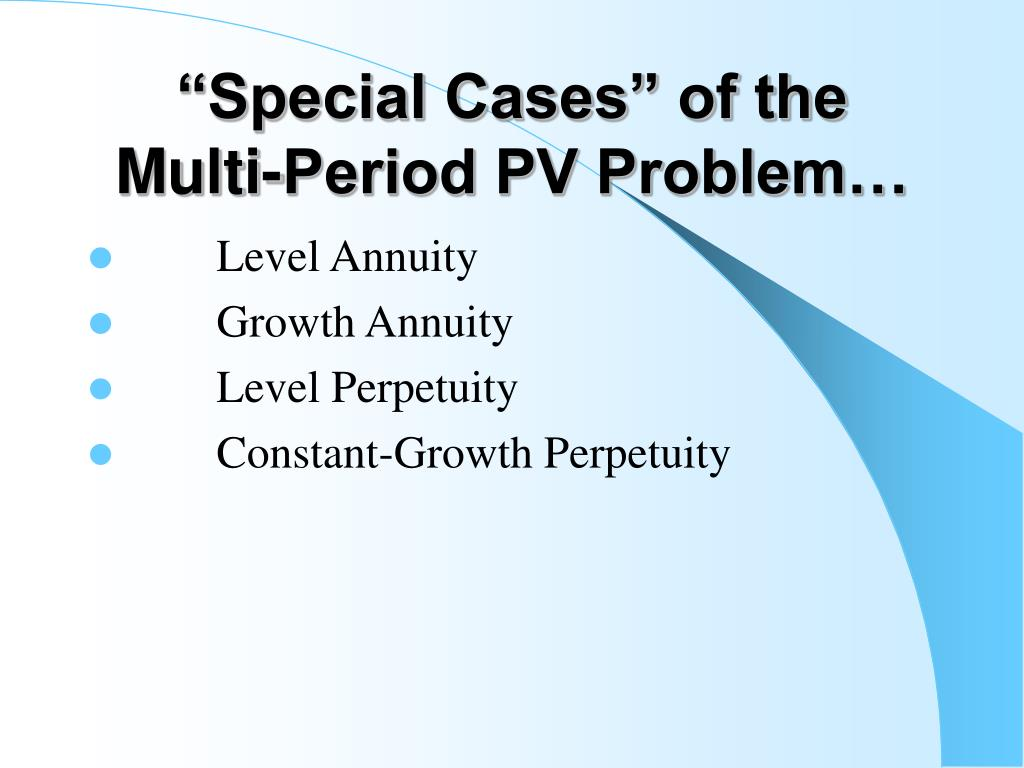 """""""Special Cases"""" of the Multi-Period PV Problem…"""