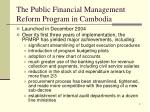 the public financial management reform program in cambodia
